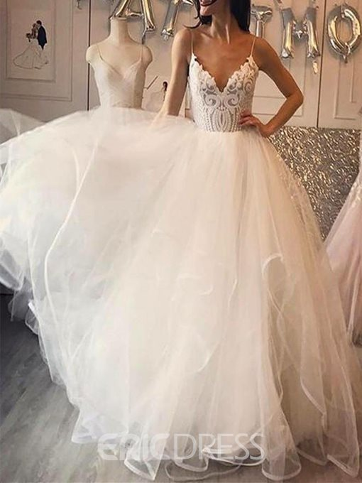 Ericdress Lace Spaghetti Straps Garden Wedding Dress