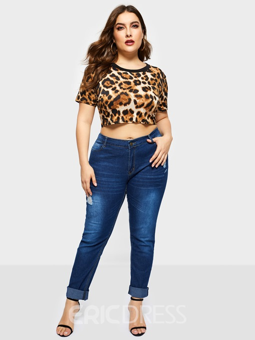 Ericdress Short Leopard Slim Plus Size T-Shirt