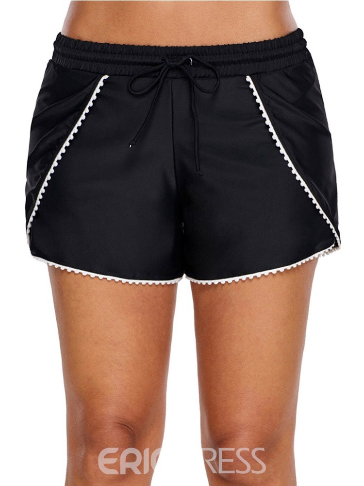 Ericdress Lace-Up Patchwork Elastic Waist Board Shorts