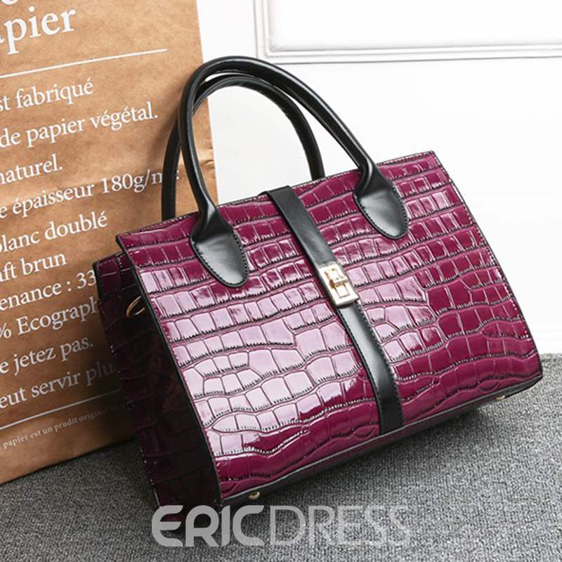Ericdress PU Alligator Lock Square Handbag