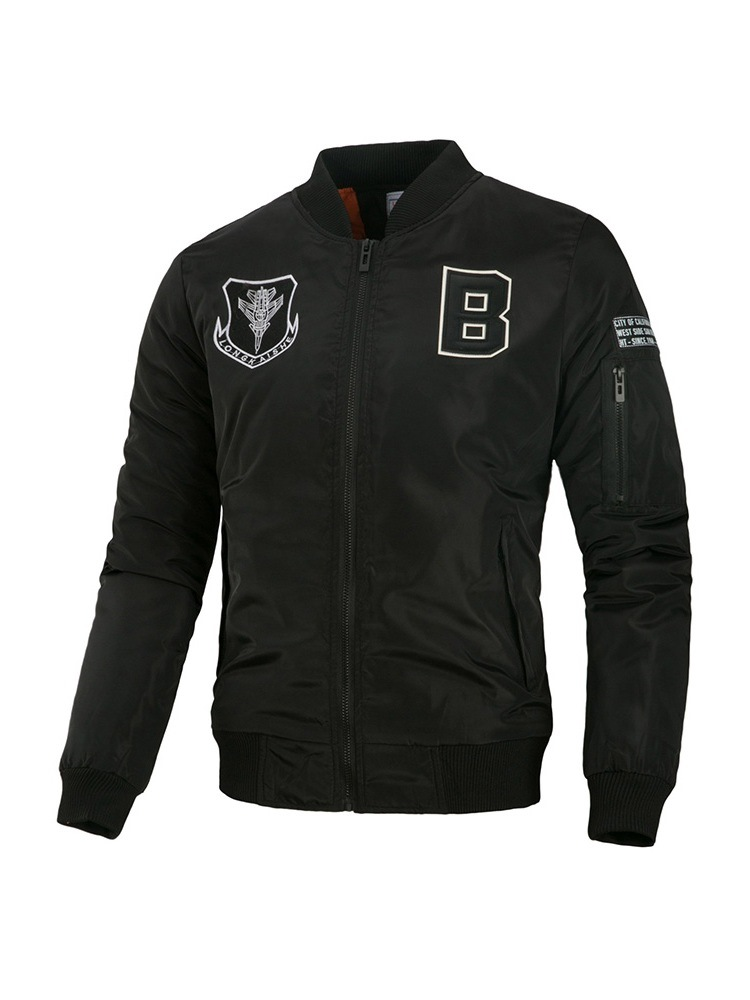 Ericdress Stand Collar Letter Appliques Mens Casual Spring Jacket