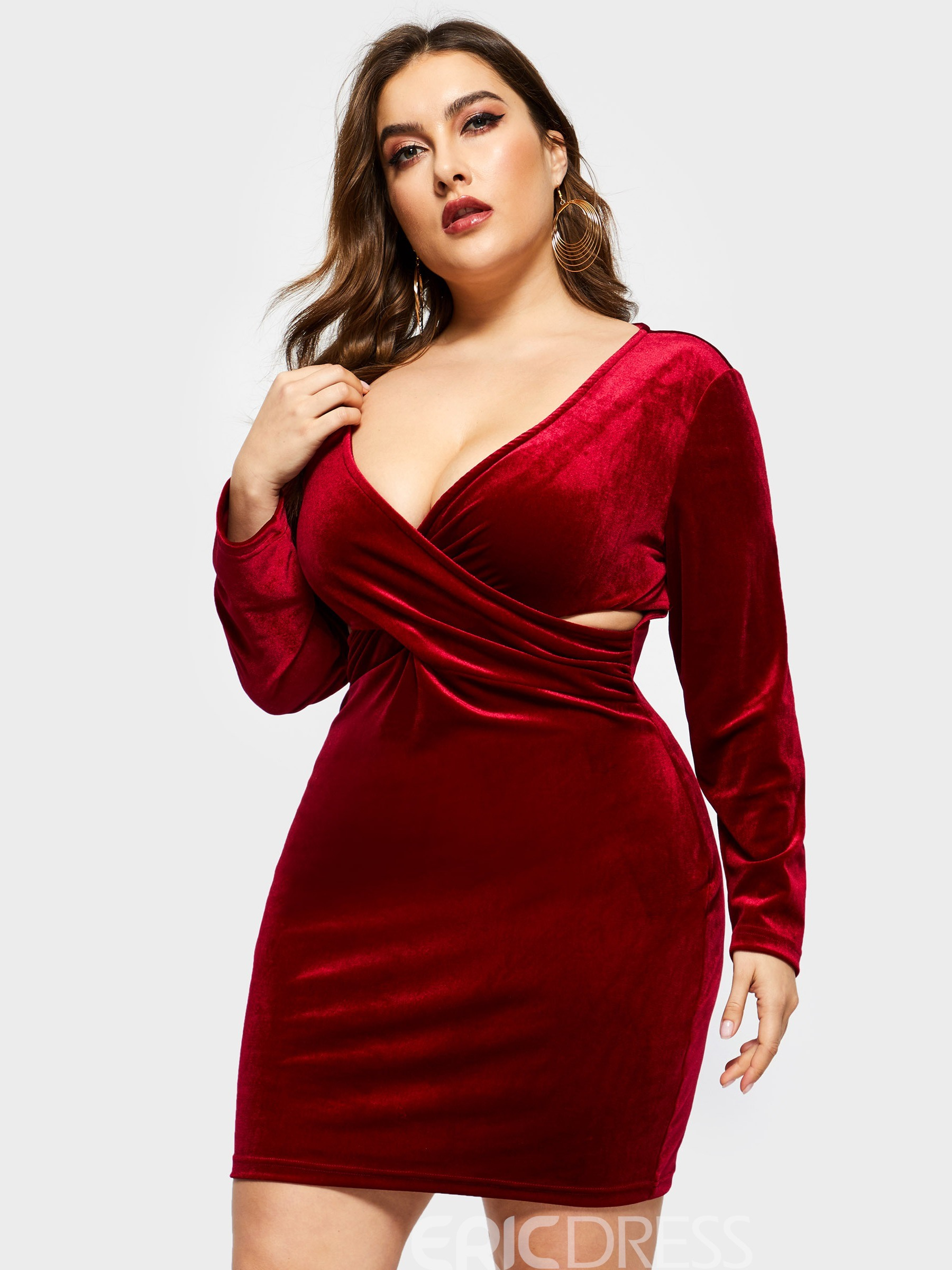 Ericdress Above Knee Long Sleeve V-Neck Bodycon Regular Plus Size Dress