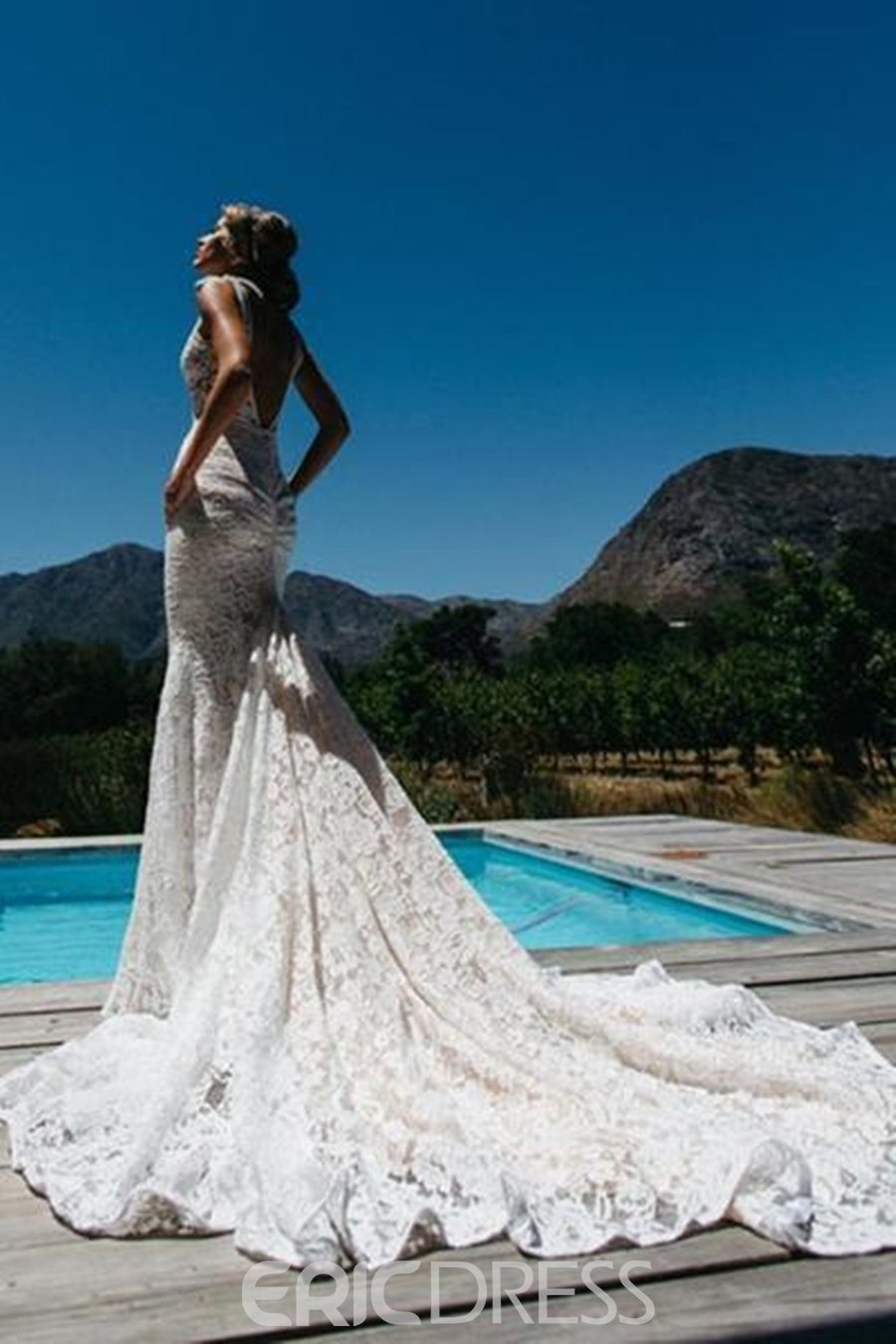 Ericdress Deep V-Neck Pockets Lace Mermaid Wedding Dress