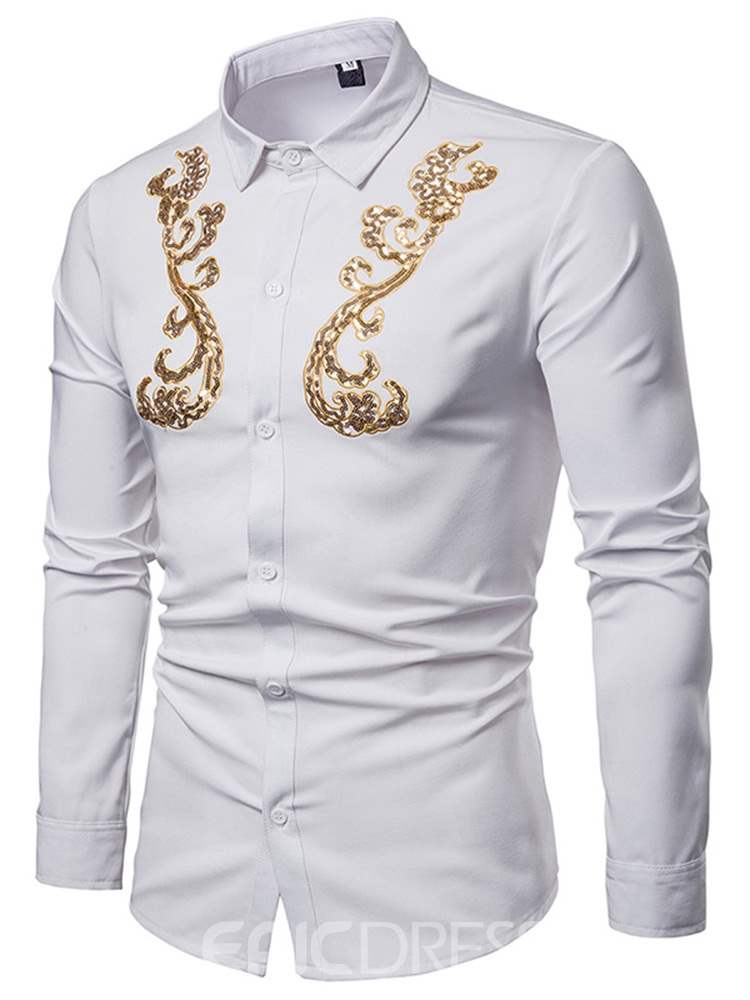 Ericdress Embroidery Lapel Button Up Mens Slim Casual Shirt