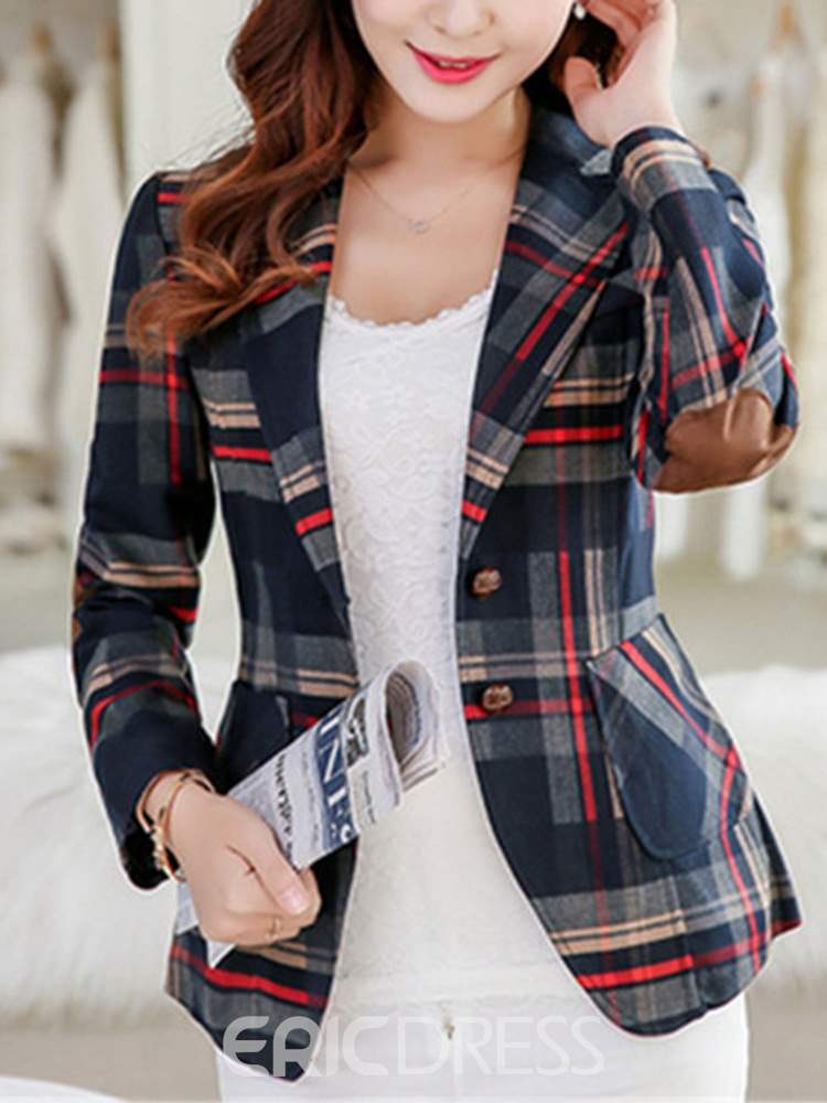 Ericdress Plaid Long Sleeve Notched Lapel Fall Standard Casual Blazer