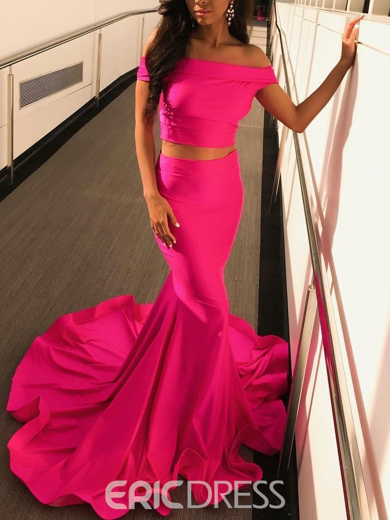 Off-The-Shoulder Sleeveless Two Pieces Prom Dress