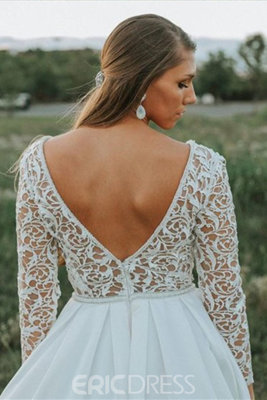 Lace Long Sleeves A-Line Outdoor Wedding Dress