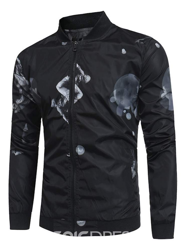 Ericdress Printed Stand Collar Mens Slim Jacket