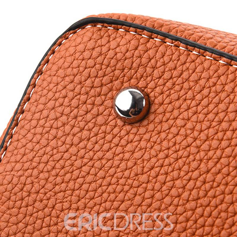 Ericdress Color Block PU Barrel-Shaped Handbag