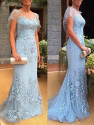 Ericdress Cap Sleeves Appliques Sheath Mother of the Bride Dress