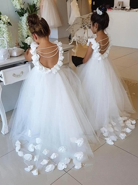 Ericdress Flowers Backless Flower Girl Dress 2019