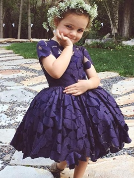 Ericdress Lace Short Sleeves Ball Gown Flower Girl Dress
