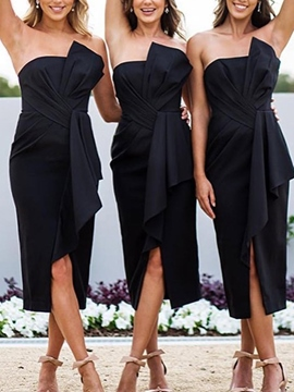 Ericdress Sheath Strapless Tea-Length Bridesmaid Dress