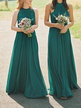 Ericdress Halter A-Line Ruched Bridesmaid Dress