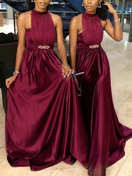 Ericdress Halter Pleats A-Line Bridesmaid Dress