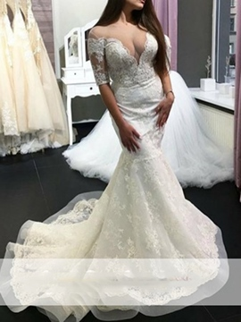 Scoop Floor-Length Applique Mermaid Wedding Dress