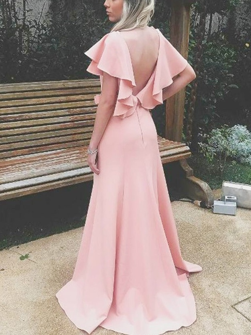 Ericdress Short Sleeves Sheath Ruffles Bridesmaid Dress 2019