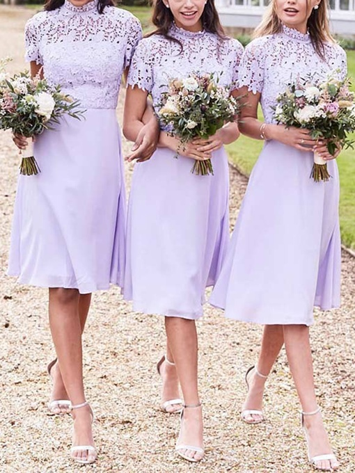 Knee-Length A-Line Short Sleeves High Neck Bridesmaid Dress 2019