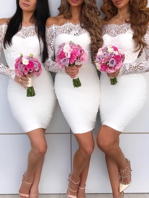 Off-The-Shoulder Short Long Sleeves Wedding Bridesmaid Dress 2019