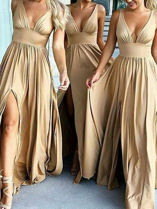 Ericdress A-Line V-Neck Split-Front Bridesmaid Dress 2019