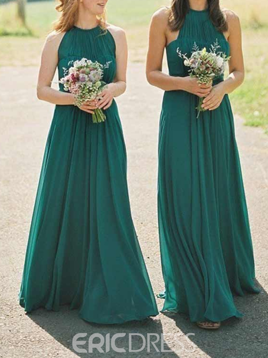 Ericdress Halter A-Line Ruched Bridesmaid Dress 2019