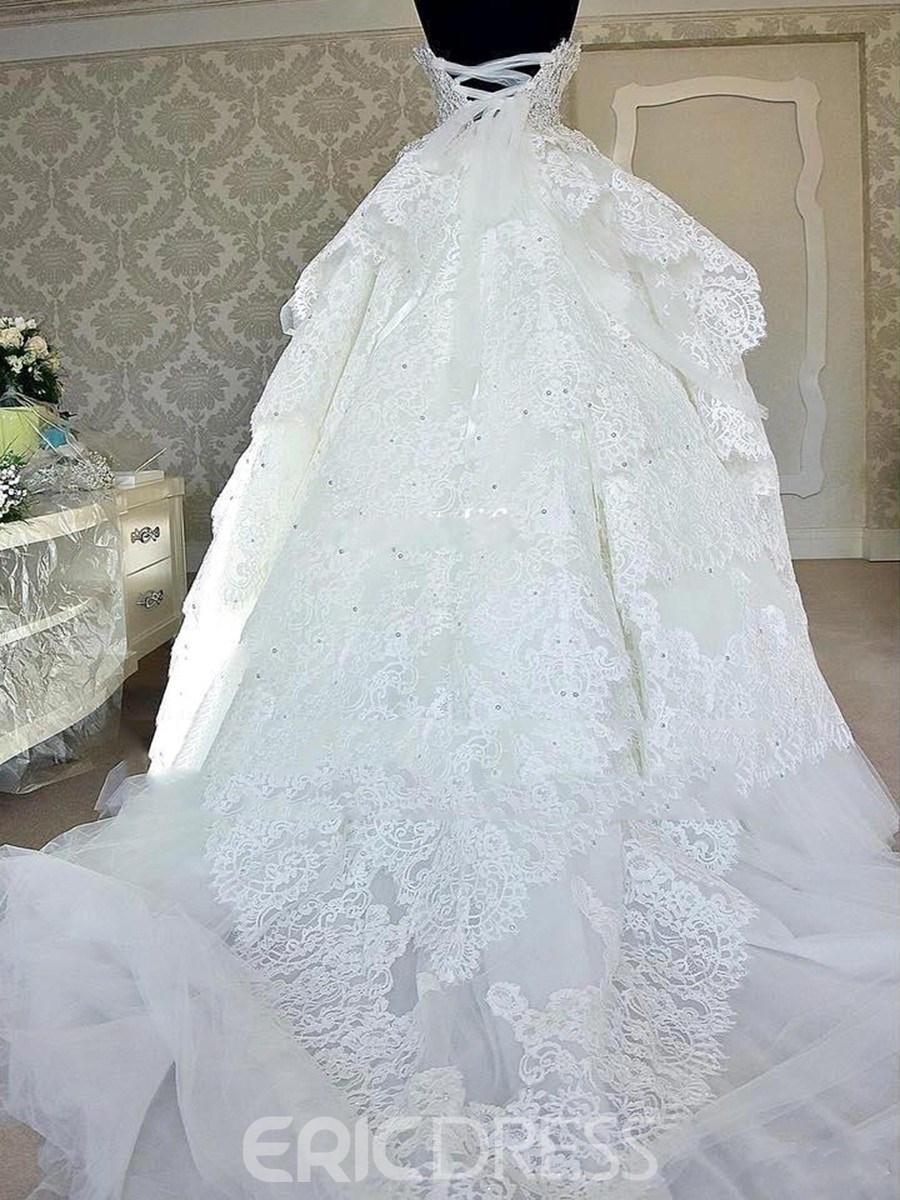 Floor-Length Sweetheart Ball Gown Layers Hall Wedding Dress 2019