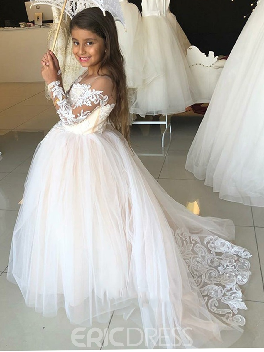 Off the Shoulder Lace Long Sleeves A-Line Flower Girl Dress 2019