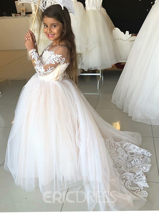 Off the Shoulder Lace Long Sleeves A-Line Flower Girl Dress