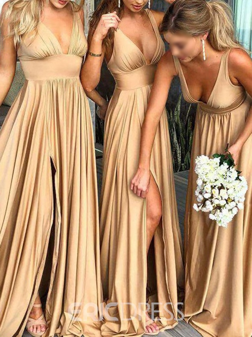 Ericdress A-Line V-Neck Split-Front Bridesmaid Dress