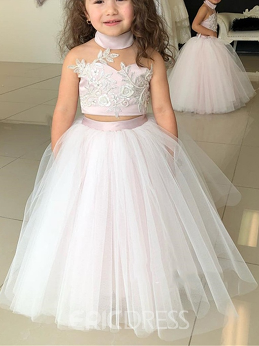 Ericdress Ball Gown High Neck Appliques Flower Girl Dress