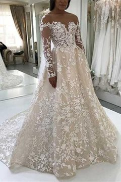 A-Line Long Sleeves Court Appliques Garden Wedding Dress
