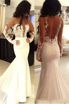 Appliques Scoop Long Sleeves Mermaid Wedding Dress