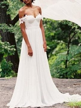 Floor-Length A-Line Off-The-Shoulder Beach Wedding Dress