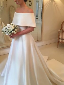 Ericdress Short Sleeves Off-The-Shoulder A-Line Wedding Dress
