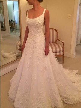 Square Appliques Sleeveless Floor-Length Church Wedding Dress