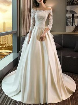 Lace Off-The-Shoulder 3/4 Length Sleeves Hall Wedding Dress
