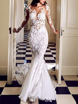 Floor-Length V-Neck Appliques Long Sleeves Wedding Dress