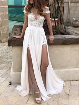 Short Slevee A-Line Split-Front Beach Wedding Dress
