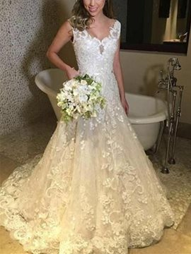 V-Neck Sleveless Appliques Church Wedding Dress