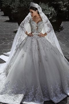 Ericdress Long Sleeves Appliques Ball Gown Wedding Dress