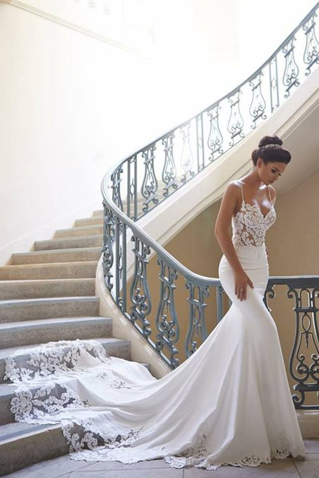 Ericdress Spaghetti Straps Appliques Mermaid Wedding Dress