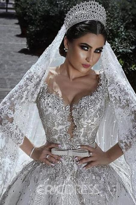 Long Sleeves Appliques Ball Gown Church Wedding Dress