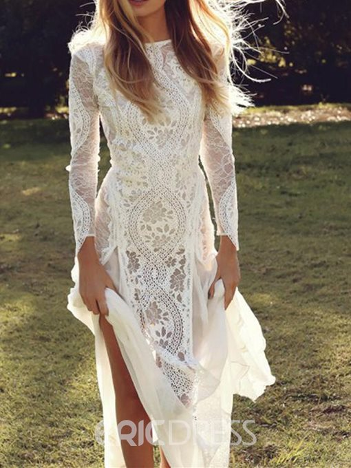 Ericdress Sheath Long Sleeves Lace Wedding Dress 2019