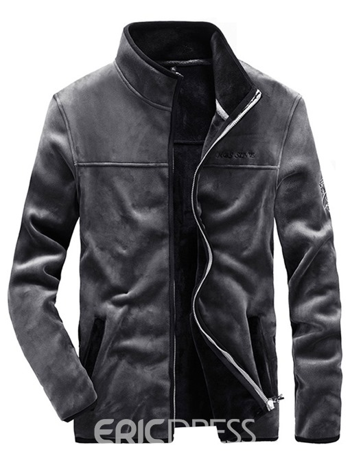 Ericdress Plain Stand Collar Flannel Mens Zipper Jacket