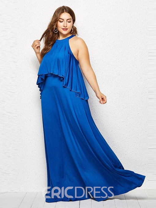 Ericdress Plus Size Round Neck Sleeveless Floor-Length High Waist Expansion Dress