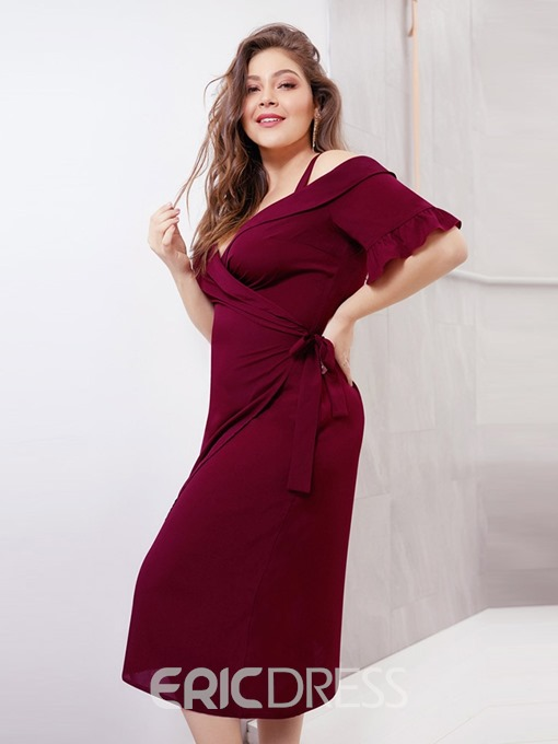 Ericdress Plus Size Half Sleeve Mid-Calf A-Line Pullover Dress