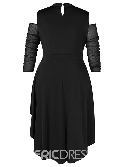 Ericdress Asymmetric Plus Size Mid-Calf Clod Shoulder Elegant Dress
