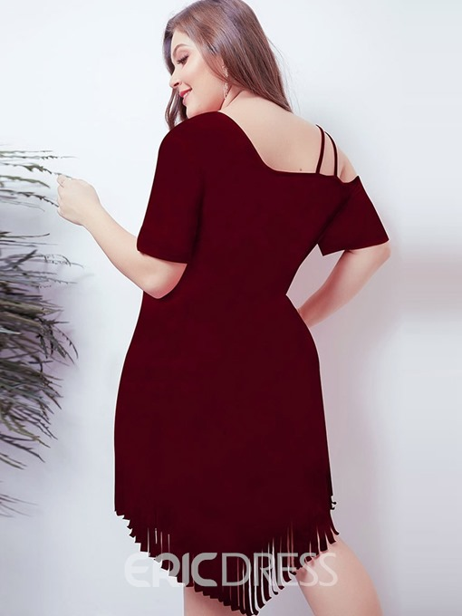 Ericdress Plus Size Mid-Calf Asymmetric Short Sleeve Plain Pullover Dress