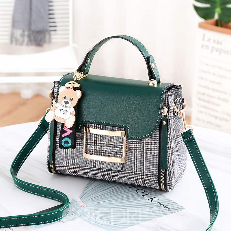 Ericdress Plaid PU Color Block Flap Handbag
