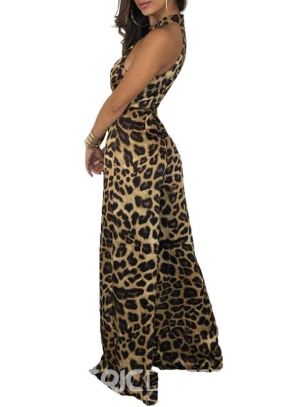 Ericdress Leopard Split Full Length Belt Loose Women's Jumpsuits